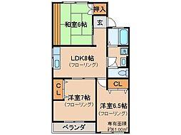 京都府京都市伏見区醍醐西大路町の賃貸マンションの間取り