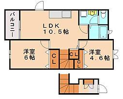 ドミ−ル柏原[2階]の間取り