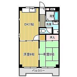 愛知県名古屋市中川区八神町1丁目の賃貸マンションの間取り