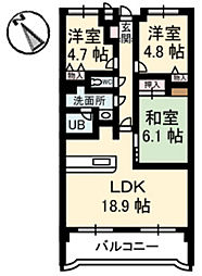 カーサ古江[4階]の間取り