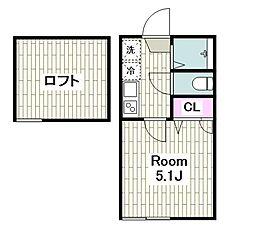 ザ・ハウス上平間 2階1Kの間取り