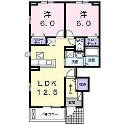 ロータス南島田B[101号室]の間取り