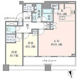 JR山手線 目黒駅 徒歩2分の賃貸マンション 37階2LDKの間取り