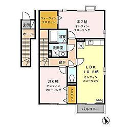 長野県長野市篠ノ井布施五明の賃貸アパートの間取り