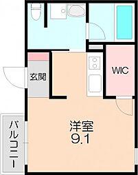 阪急宝塚本線 池田駅 徒歩8分の賃貸マンション 3階ワンルームの間取り