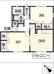コーポ徳松[1階]の間取り