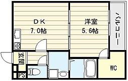 大阪府東大阪市足代北1丁目の賃貸アパートの間取り