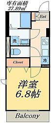 仮称亀戸7丁目計画 4階1Kの間取り