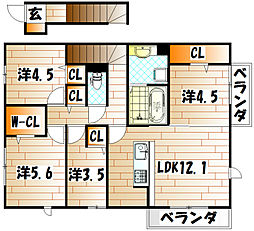 SW's riverside D-room[2階]の間取り