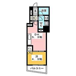 ディームス大手町ノース 6階1DKの間取り