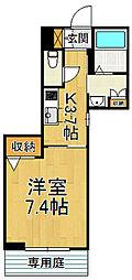 阪神本線 杭瀬駅 徒歩11分の賃貸マンション 1階1Kの間取り