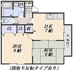 アンリバーハイツ A・B[1階]の間取り