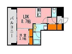 LANDICK320 6階1LDKの間取り
