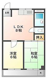 パインリーフ甲子園[3階]の間取り