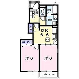 JR中央本線 春日居町駅 徒歩13分の賃貸アパート 1階2DKの間取り