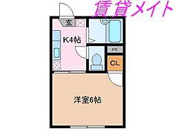 三重県伊勢市桜木町の賃貸アパートの間取り