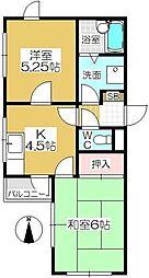 アビタシオン・ヤカタ[201号室]の間取り