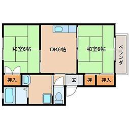 奈良県天理市三島町の賃貸アパートの間取り