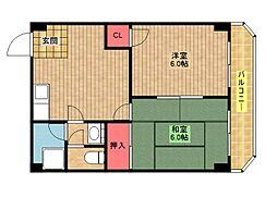 阪下ハウスマンションB棟[6階]の間取り