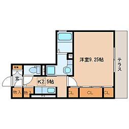 静岡鉄道静岡清水線 草薙駅 徒歩9分の賃貸アパート 1階1Kの間取り