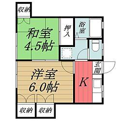 千葉県千葉市中央区松波4丁目の賃貸アパートの間取り