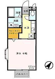 ラフォ−レ山崎[B201号室]の間取り