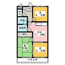第二マルヤスハイツ[4階]の間取り
