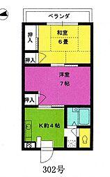グリーンシティーミヤノ[302号室]の間取り