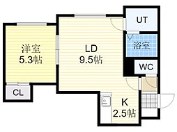 JR学園都市線 新琴似駅 徒歩10分の賃貸アパート 2階1LDKの間取り