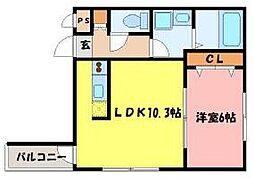 Marquise Takamiya 3階1LDKの間取り