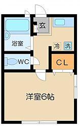 東京都目黒区平町2丁目の賃貸アパートの間取り