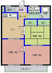 茨城県ひたちなか市西大島3丁目の賃貸アパートの間取り