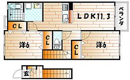 サンリットヒル赤坂[2階]の間取り