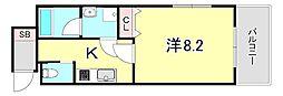 ワコーレヴィアーノ須磨関守 2階1Kの間取り