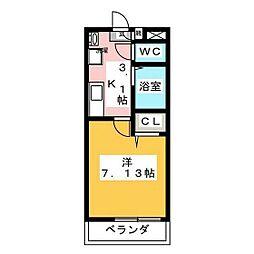 JR山陽本線 北長瀬駅 徒歩6分の賃貸アパート 3階1Kの間取り