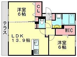 サンフィットハイツ十番館[1階]の間取り