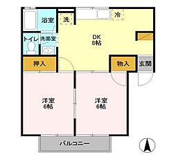 セジュール藤塚[A102号室]の間取り