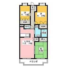 静岡県富士宮市万野原新田の賃貸マンションの間取り