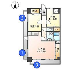 大成レジデンス白壁[4階]の間取り