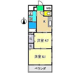 PERLA南川添II[3階]の間取り
