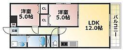 フェリオ永田[1階]の間取り