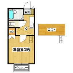 桂コーポ木田余[2階]の間取り