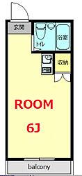 京急本線 弘明寺駅 徒歩15分の賃貸アパート 2階ワンルームの間取り