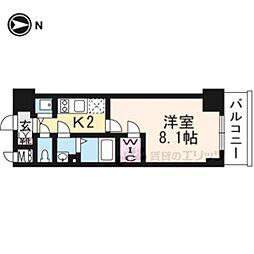 エスプレイス京都RAKUNAN405 4階1Kの間取り