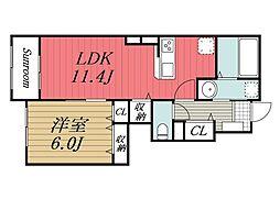 京成本線 公津の杜駅 徒歩28分の賃貸アパート 1階1LDKの間取り