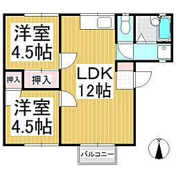 古旗アパート B棟[2階]の間取り