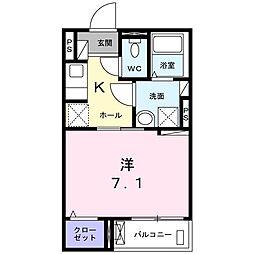 Purete大岡山(ピュリテ 2階1Kの間取り