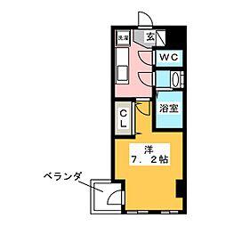 グラティチュード武蔵新城 6階1Kの間取り