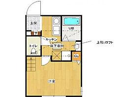 小田急小田原線 相模大野駅 バス17分 友愛病院前下車 徒歩8分の賃貸アパート 2階1Kの間取り