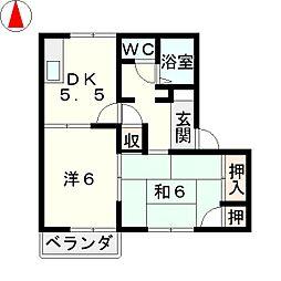 滋賀県栗東市大橋5丁目の賃貸アパートの間取り